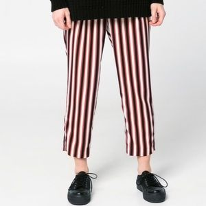 Mango Suit Red Striped Crop Tapered Pants M NWT
